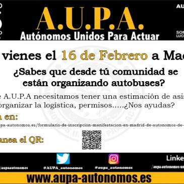 Formulario de inscripción manifestación en Madrid de Autónomos de toda España.